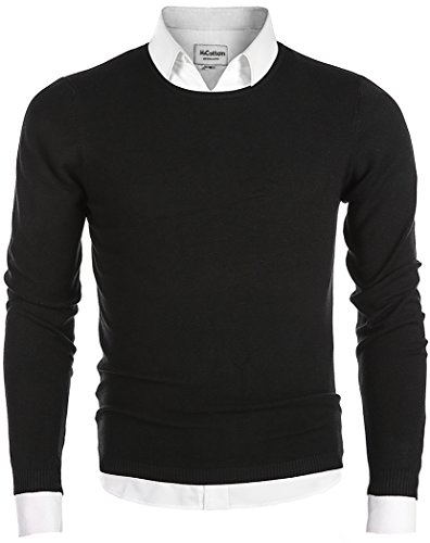 Men's Long Sleeve Crew Neck Pullover Knit Sweater Black Small