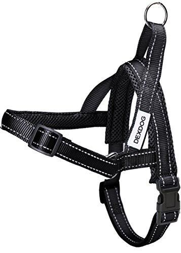 DEXDOG EZHarness No Pull Reflective Mesh Adjustable Dog Harness - Large - Black
