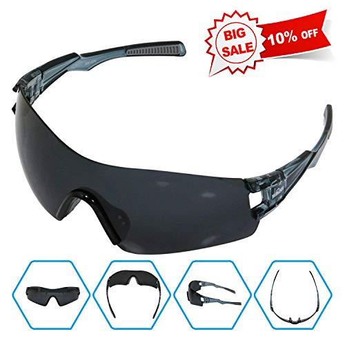 WIKISH UV400 TR90 Unbreakable Polarized Sports Sunglasses Unisex Driving Sunglasses- 100% UV Protective for Men Women Cycling Baseball Running Fishing Driving Golfing - Dark (Polarized Gray 400 Glass Lens)