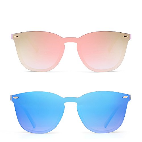 JIM HALO Rimless Sunglasses One Piece Mirror Reflective Eyeglasses for Men Women 2 Pack (Pink & ()