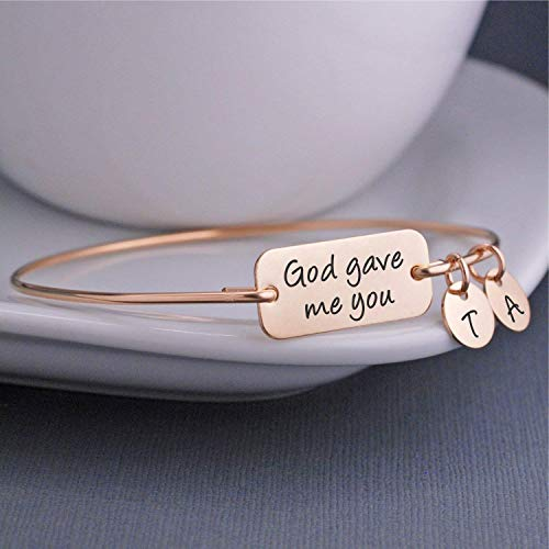 Gold God Gave Me You Personalized Bangle Bracelet, Mother's Day Gift for Mom -
