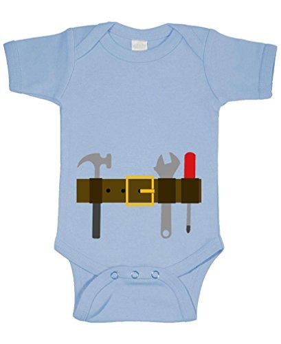 TOOL BELT - carpenter construction tools - Cotton Infant Bodysuit, NB, Lt Blue