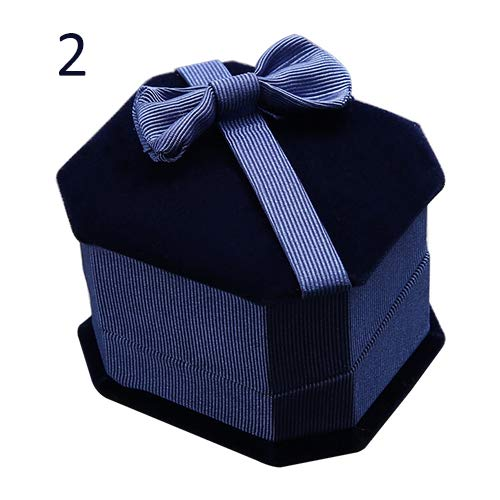 lightclub Fashion Jewelry Box Ring Storage Bowknot Earring Necklace Holder Display Case Gift Box for Displaying Rings Rings Box Case for Proposal for Wedding Ceremony for Jewelry Gift Sapphire Blue