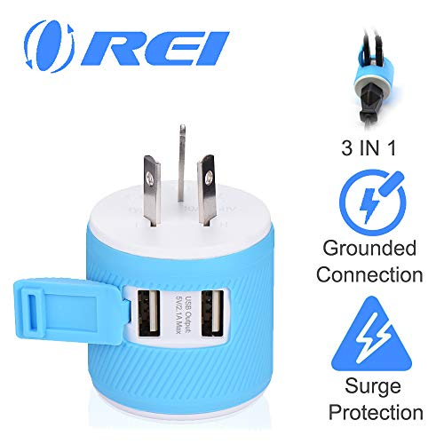 Australia, New Zealand, China Travel Plug Adapter by OREI with Dual USB + Surge Protection - Type I (U2U-16), Will Work with Cell Phones, Camera, Laptop, Tablets, iPad, iPhone and More (Australia Adapter Plug)