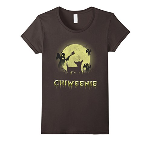 Chiweenie Halloween Costumes (Womens chiweenie Halloween shirt Medium Asphalt)