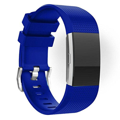 Price comparison product image Gotd Replacement Silicone Band for Fitbit Charge 2 Fitness Watch (Blue02)