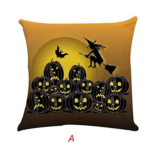 kaifongfu Halloween Pillow Case Square Cotton Linen Cushion Cover Home Sofa Decor(Multicolor A)