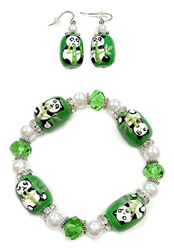 Linpeng BR-2394/E-198 2 Piece Fiona 3D Hand Painted Panda Glass Beads Stretch Bracelets and Earrings Gift (3 New Cute Beads)