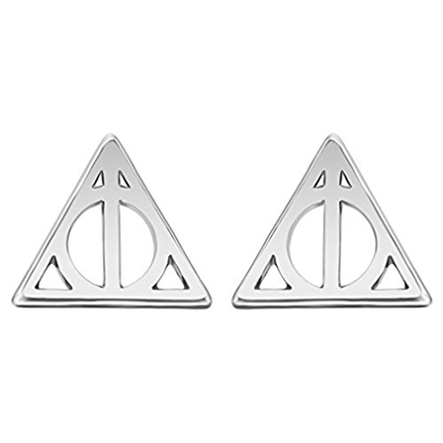 (Punk Jewelry Silver Simple Triangular Geometry Hallows Luna Triangle Stud Earrings For Women)