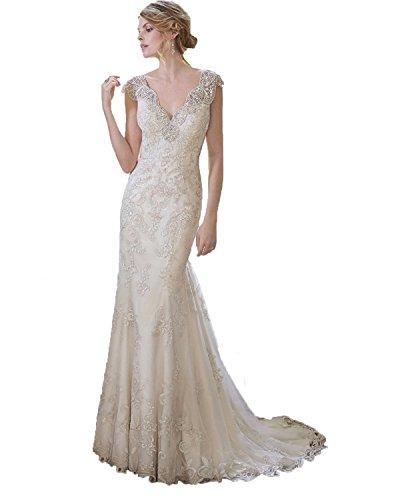 beaded angel sleeve wedding dress - 4