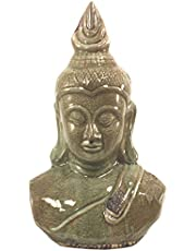 Large Olive Green Distressed Ceramic Buddha Head