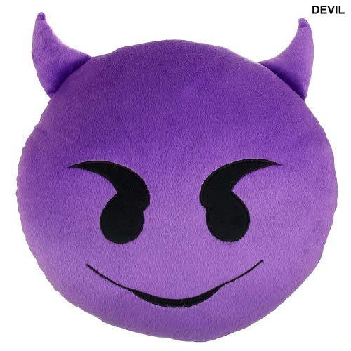 """(Devil Emoji Pillow 9"""" 