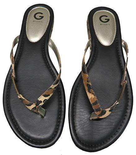 G by GUESS Women's Jumper-C Flip Flops Black Leopard, ()