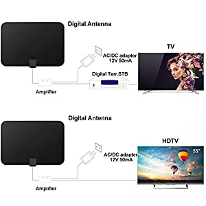 HDTV Antenna Indoor Digital 60-80 Miles Long Range TV Antenna with 2018 Newest Type Switch Console Amplifier Signal Booster, High Performance 16.5FT Coaxial Cable Power Adapter Better Reception