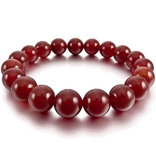 INBLUE Men,Women's 12mm Energy Bracelet Link Wrist Energy Stone Simulated Agate Red Buddha Mala Bead (Red Hip Hop Bracelet)