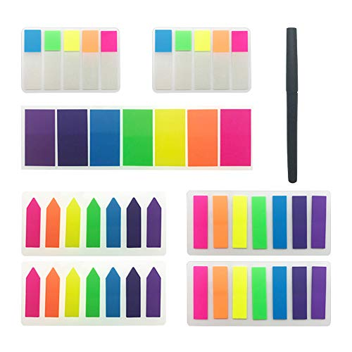 Hipalm 900 Pieces Neon Flag Sticky Notes 4 Sizes Writable Labels Page Marker Bookmarks Text Highlight Strips, 7 Sets with 1 Gel Ink Pen
