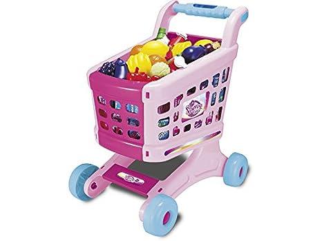 IMITOYS Carrito Supermercado Rosa Música y Sonidos 19 Piezas 50x36x28cm: Amazon.es: Juguetes y juegos