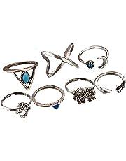 kingfishertrade-ltd Trendy Statement Retro Style Personality Blue Stone Elephant Women's Fashion Rings Set