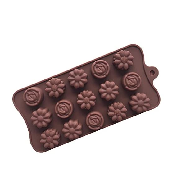 Gessppo 15-Cavity Silicone Cake Mold Flower Rose Chocolate Soap Mold Ice Tray Mold Baking Tools Resistant High Temperature Easy to Operate and Clean 5 ❤❤️Material:silicone-----Color:coffee-----Size:approx. 22 x 10.5 x 1.5cm; Diameter of each flower: approx. 2.9cm ❤❤️12 Cup Silicone Muffin - Cupcake Baking Pan / Non - Stick Silicone Mold / Dishwasher - Microwave Safe; 2Packs Silicone Mini Muffin Pan, Silicone Molds for Muffin Tins, Cupcake Baking Pan (Red);Ware Platinum Collection Heritage Bundt Pan ❤️❤️Reusable Silicone Baking Cups, Pack of 12; Silicone Cake Mold Magic Bake Snake-DIY Baking Mould Tool Design Your Pastry Dessert with Any Pan Shape, 4 PCS/lot Nonstick Flexible Reusable Easy to Use and Wash, Perfect Gift Idea for Your Love