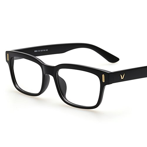 Rectangle Eyeglasses Optical Frame Black Glasses Frames For Women Men (Matte - Plaza Eyewear