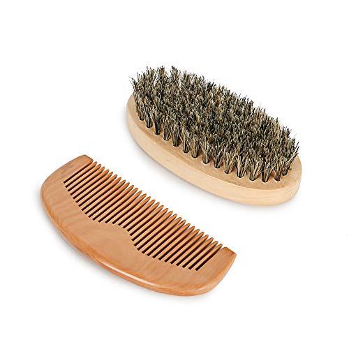 Bestbeni Beard Brush and Beard Comb kit for Men Grooming, Beard Brush And Comb Set Wooden Handmade Natural Boar Bristle Brush and Wood Beard Comb for Men