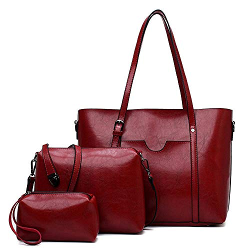 Satchel Woven Slip (Sunwel Fashion Pu Leather Large Size Stylish Tote Top Handle Handbag 3 Pcs Set with Satchel Crossbody Bag Wallet Coin Purse (Red))