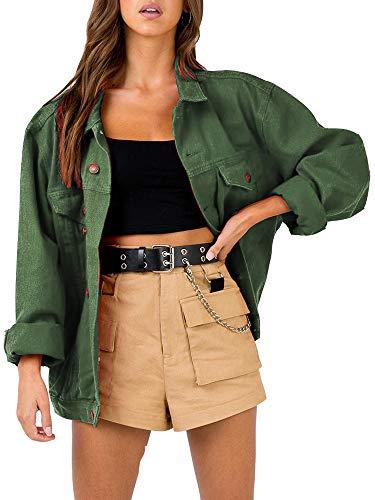 Vintage Jacket Blazer - Women's Oversize Vintage Washed Boyfriend Denim Jacket Long Sleeve Classic Loose Jean Trucker Jacket (S, Green Washed)