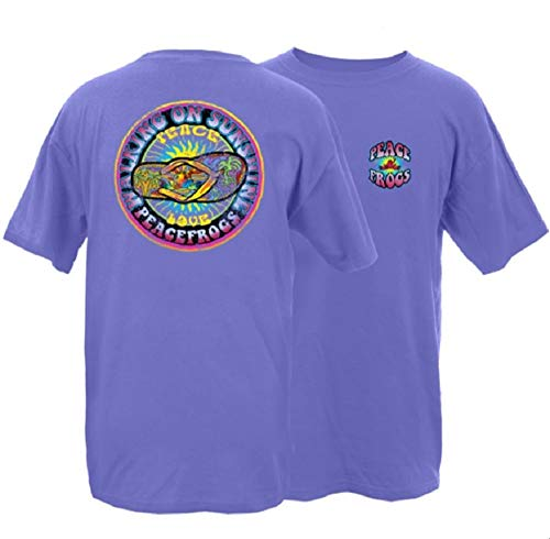 Peace Frogs Walking on Sunshine Frog Adult Unisex Short Sleeve T-Shirt (Violet, Small)
