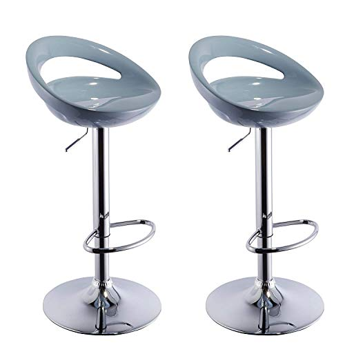 Duhome 2 PCS Swizzle Gloss Finish Crescent Shape Adjustable Swivel Bar Stools Kitchen Counter Top (Grey) -