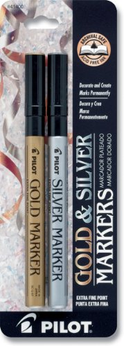 Pilot Gold and Silver Metallic Permanent Paint Markers, Extra Fine Point, Set of 2 Markers (41400)