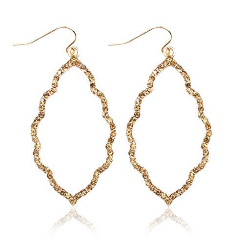 MYS Collection Rhinestone Moroccan Floral Lightweight Open Hoop Dangles - Sparkly Geometric Cut-Out Drop Earrings Scalloped, Moroccan, Quatrefoil Clover (Moroccan - Gold Topaz) (Earrings Casual Gold)