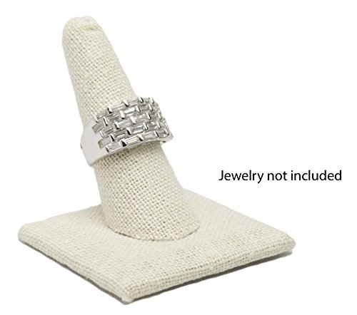 Novel Box Single Finger Beige Linen Ring Stand Holder Jewelry Display 2X2X2 + NB Cleaning Cloth