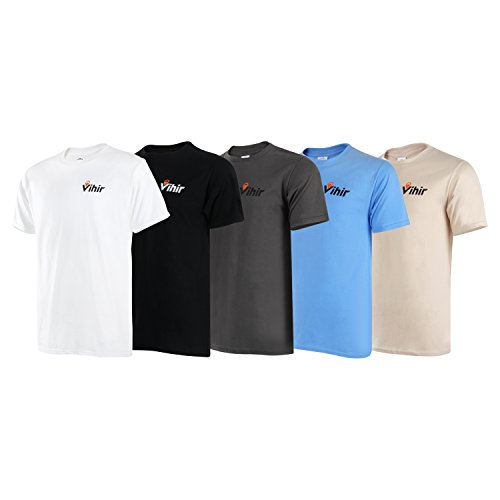 Vihir Men's Heavy Cotton Short Sleeve Tee, 5 Pack,L