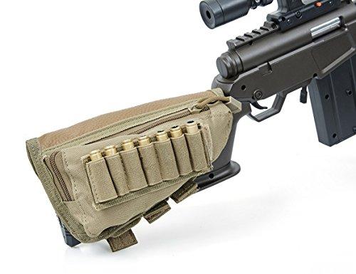 VIVOI Right Handed Rifle Stock Pack Buttstock Ammo Holder Cheek Pad (Tan)