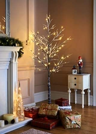 Christmas Pre Lit Twig Led Floor Standing 7ft Outdoor Indoor Snowy ...