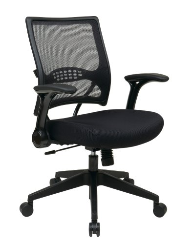 SPACE Seating AirGrid Dark Back and Padded Mesh Seat, 2-to-1 Synchro Tilt Control, Flip Arms, Pneumatic Seat Height Adjustment and Angled Nylon Finish Base Managers Chair