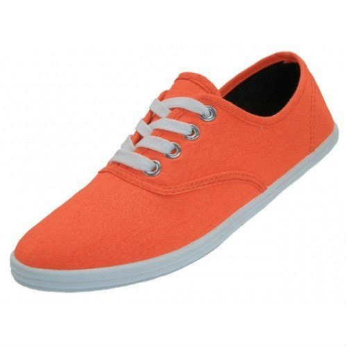 Orange Sneakers Shoes White - Shoes 18 Womens Canvas Shoes Lace up Sneakers 18 Colors Available (8 Neon Orange 324)