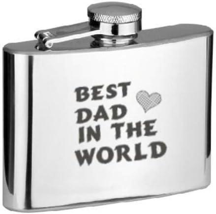 Mejor papá en el mundo petaca de acero inoxidable en caja de regalo BOX-PERFECT Navidad, cumpleaños, aniversario, de jubilación, día del padre y día de San Valentín regalos