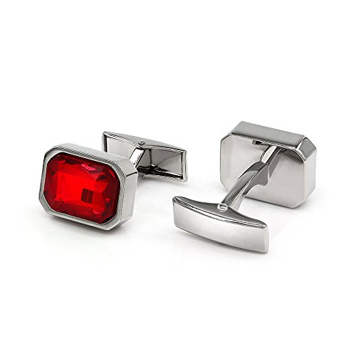 Red Plated Cufflinks - Kemstone Shiny Ruby Cubic Zirconia Crystal Cufflinks Silver Plated for Men