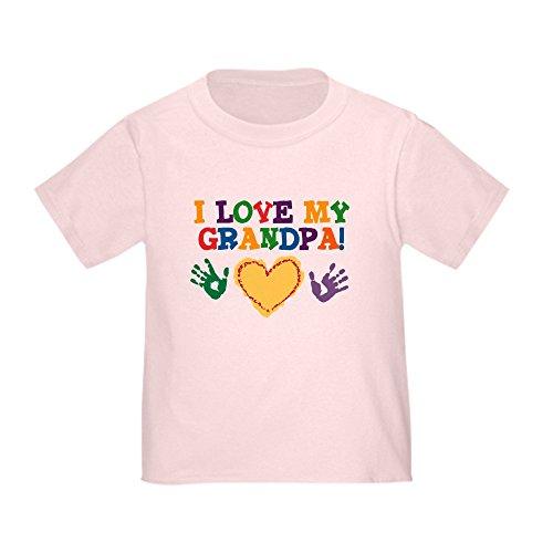 CafePress I Love My Grandpa Toddler T-Shirt Cute Toddler T-Shirt, 100% Cotton Pink