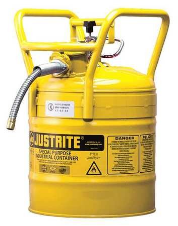 Justrite 7350210 Type 2 DOT Safety Can, 5/8in Hose, 5 Gal, Yellow