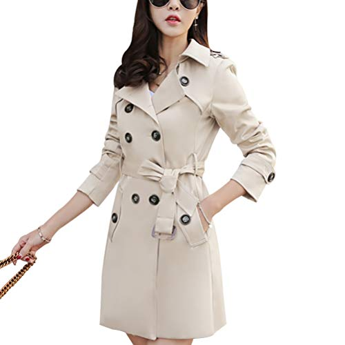 Mid-Length Trench Coat Jacket Double Breasted Outwear with Belt S-5XL Creamy White ()