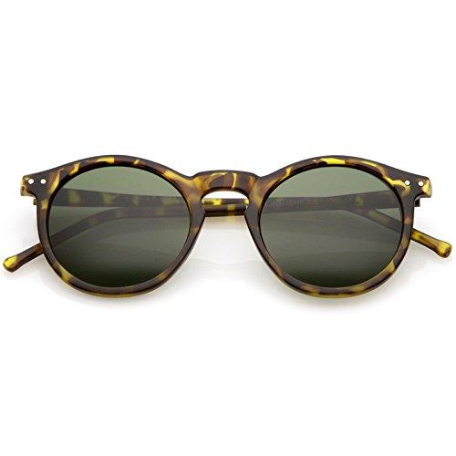 zeroUV - Vintage Retro Horn Rimmed Round Circle Sunglasses with P3 Keyhole Bridge (Matte Tortoise / - Matte Sunglasses Tortoise