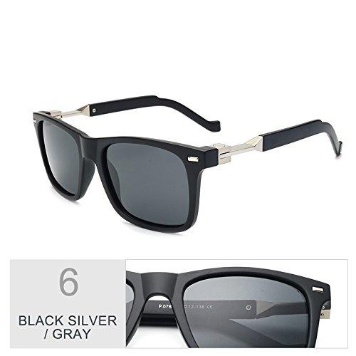 Fashion Silver Gray TIANLIANG04 Square Brown Black Gafas Conducción Para Hombre Brown Polarizadas Gafas xxPtSBq
