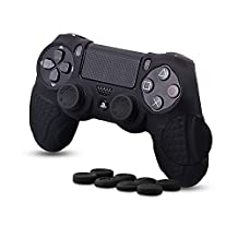 CHINFAI PS4 Controller Skin, Silicone Grips Cover Protector Cover Case for Sony PlayStation 4 Game Controller (Black)