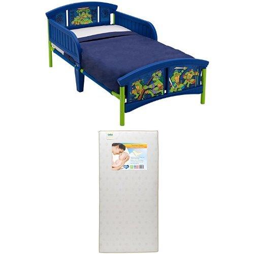 Delta Children Plastic Toddler Bed, Teenage Mutant Ninja Turtles  with Twinkle Stars Crib & Toddler Mattress