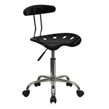 black and chrome furniture. flash furniture vibrant black and chrome swivel task chair with tractor seat