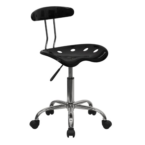 - Flash Furniture Vibrant Black and Chrome Swivel Task Chair with Tractor Seat