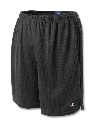 Champion Mens Long Mesh Shorts with Pockets Black ()