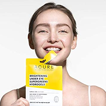 ACURE Brightening Under Eye Super Greens Hydrogels 100 Vegan For A Brighter Appearance Caffeine Kale – Soothes Depuffs Tired Undereye Area 2 Single Use 5 Count